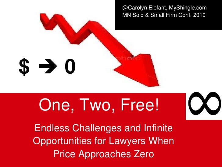 $      0 One, Two, Free!   Endless Challenges and Infinite Opportunities for   Lawyers   When Price Approaches Zero @Caro...