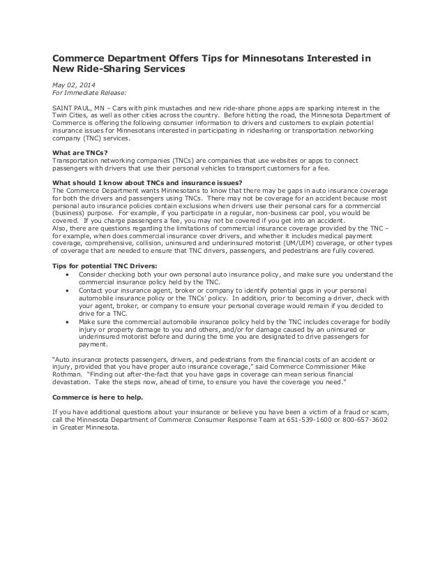 Commerce Department Offers Tips for Minnesotans Interested in New Ride-Sharing Services May 02, 2014 For Immediate Release...