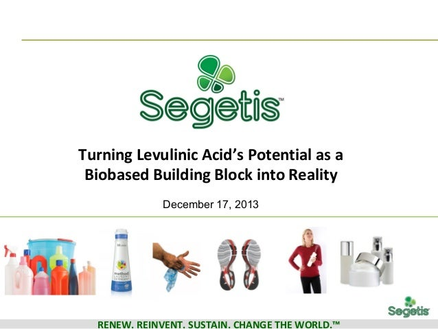 Turning Levulinic Acid's Potential as a Biobased Building Block into Reality December 17, 2013  RENEW. REINVENT. SUSTAIN. ...