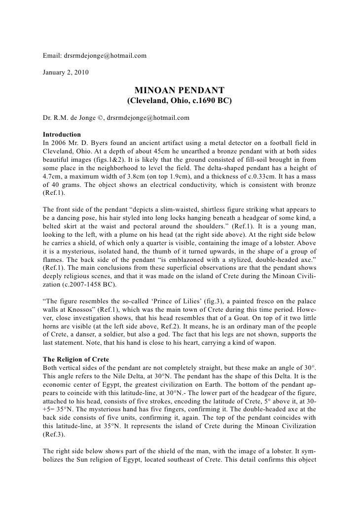 Email: drsrmdejonge@hotmail.com  January 2, 2010                                   MINOAN PENDANT                         ...