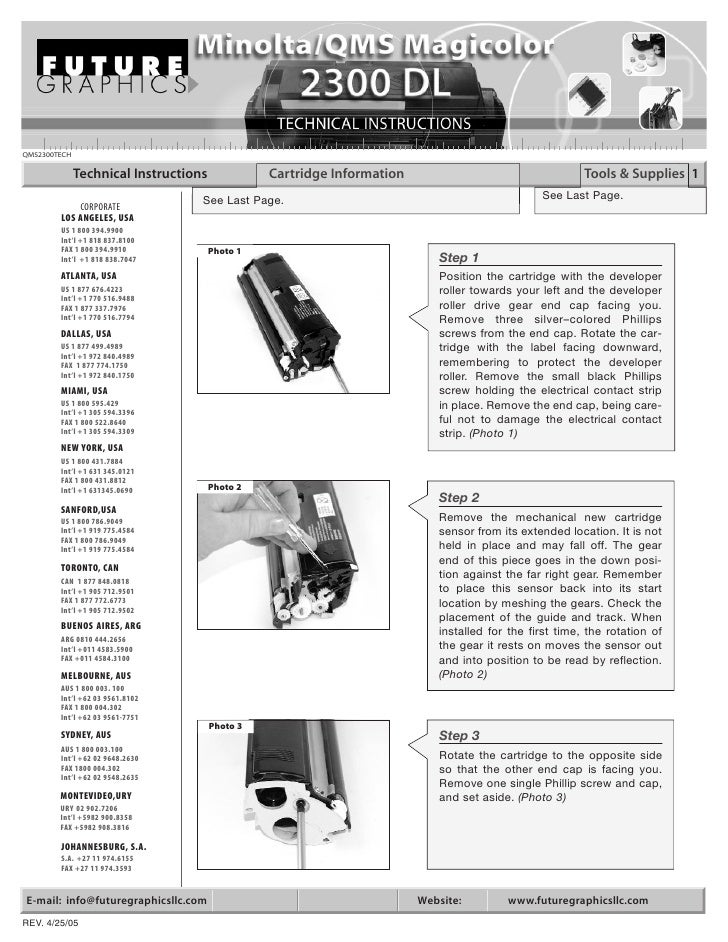 QMS2300TECH                Technical Instructions             Cartridge Information                                   Tool...
