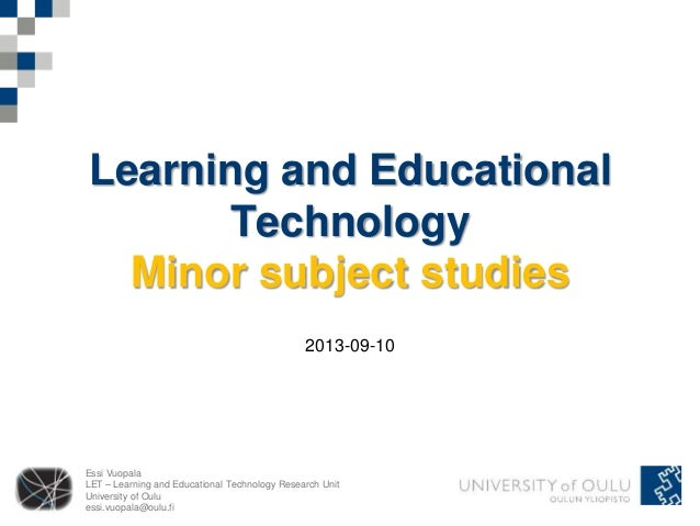 Minor studies in educational technology - start-up meeting 2013