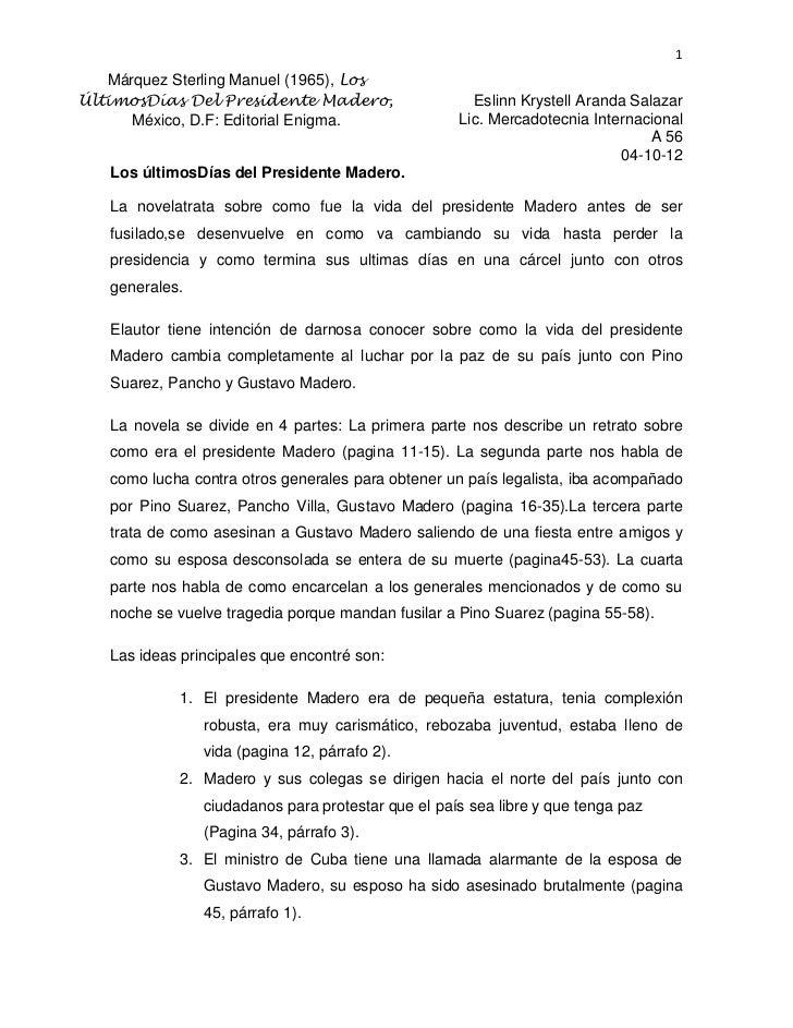 1   Márquez Sterling Manuel (1965), LosÚltimosDías Del Presidente Madero,                    Eslinn Krystell Aranda Salaza...