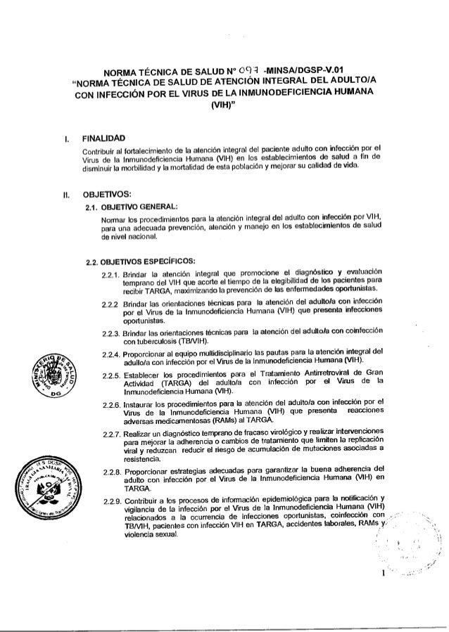 """NORMA TÉCNICA DE SALUD N° 091 -MINSA/DGSP-V.01""""NORMA TÉCNICA DE SALUD DE ATENCIÓN INTEGRAL DEL ADULTO/ACON INFECCIÓN POR E..."""