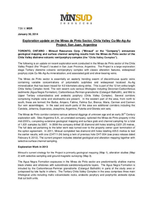 TSX-V: MSR January 30, 2014  Exploration update on the Minas de Pinto Sector, Chita Valley Cu-Mo-Ag-Au Project, San Juan, ...