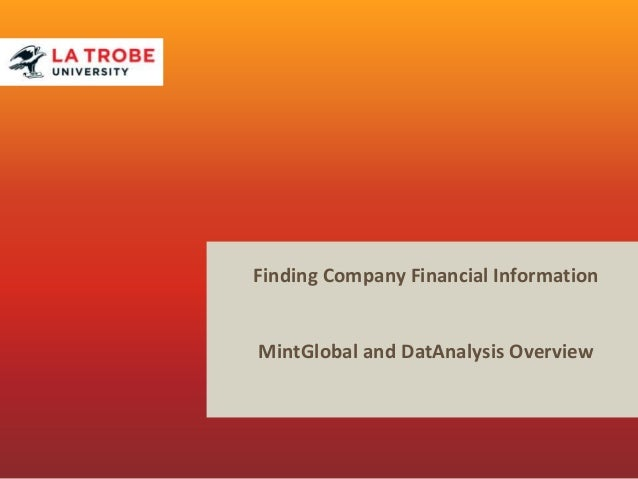 Finding Company Financial Information MintGlobal and DatAnalysis Overview