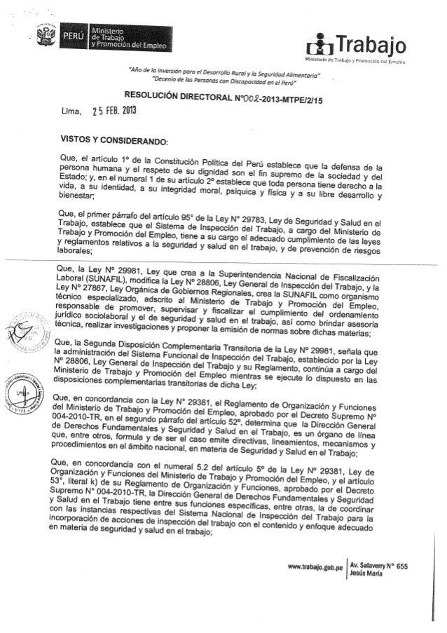 Mintra   resolución directoral n° 002-2013-mtpe - protocolo para las actuaciones inspectivas de investigación en actividad...