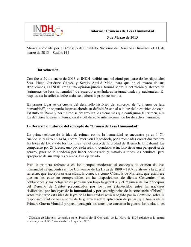 Informe: Crímenes de Lesa Humanidad 5 de Marzo de 2013 Minuta aprobada por el Consejo del Instituto Nacional de Derechos H...
