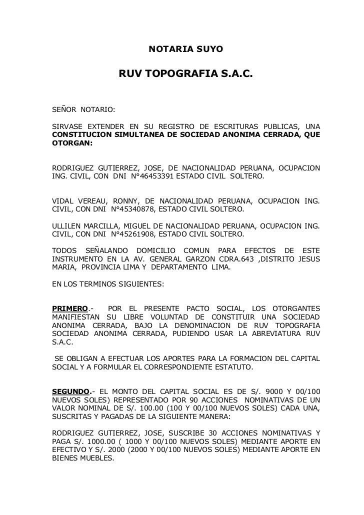 NOTARIA SUYO                 RUV TOPOGRAFIA S.A.C.SEÑOR NOTARIO:SIRVASE EXTENDER EN SU REGISTRO DE ESCRITURAS PUBLICAS, UN...