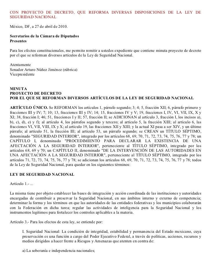 CON PROYECTO DE DECRETO, QUE REFORMA DIVERSAS DISPOSICIONES DE LA LEY DESEGURIDAD NACIONALMéxico, DF, a 27 de abril de 201...