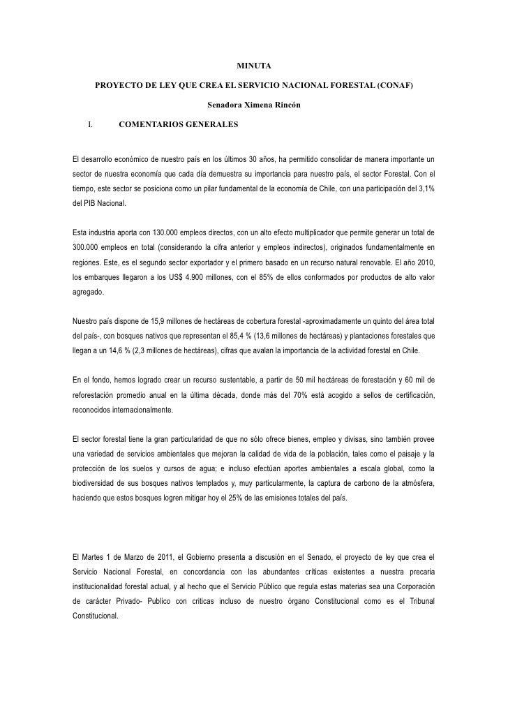 MINUTA          PROYECTO DE LEY QUE CREA EL SERVICIO NACIONAL FORESTAL (CONAF)                                            ...