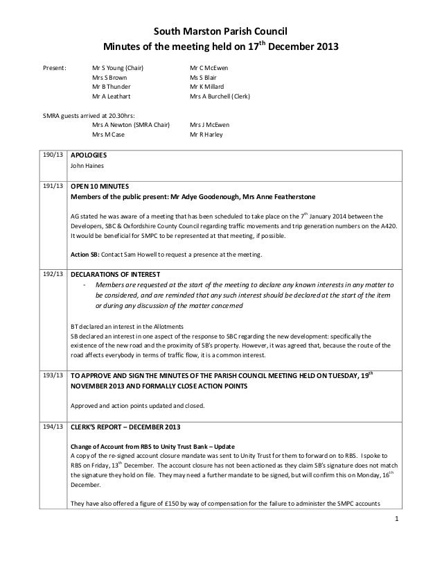 1 South Marston Parish Council Minutes of the meeting held on 17th December 2013 Present: Mr S Young (Chair) Mr C McEwen M...
