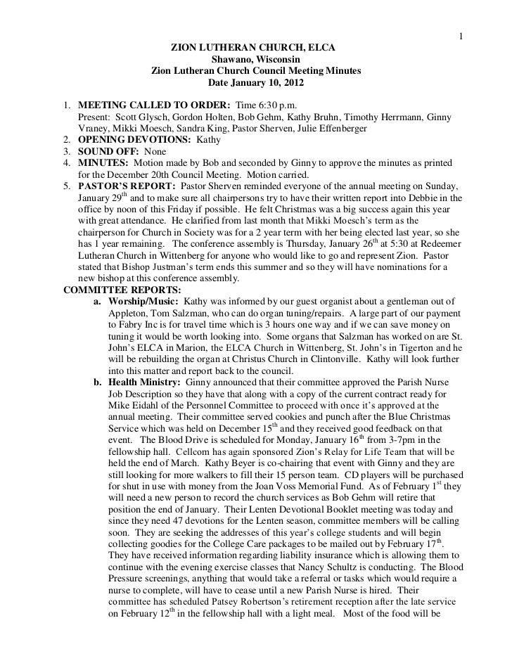 Minutes   council 12-01-10
