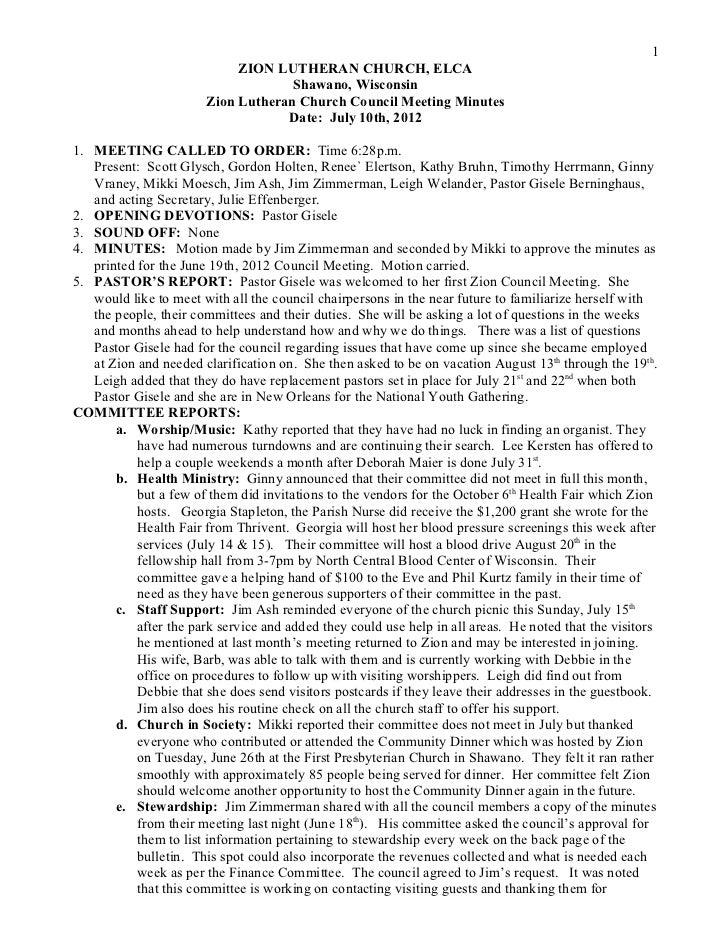 Minutes   c ouncil 12-07-10