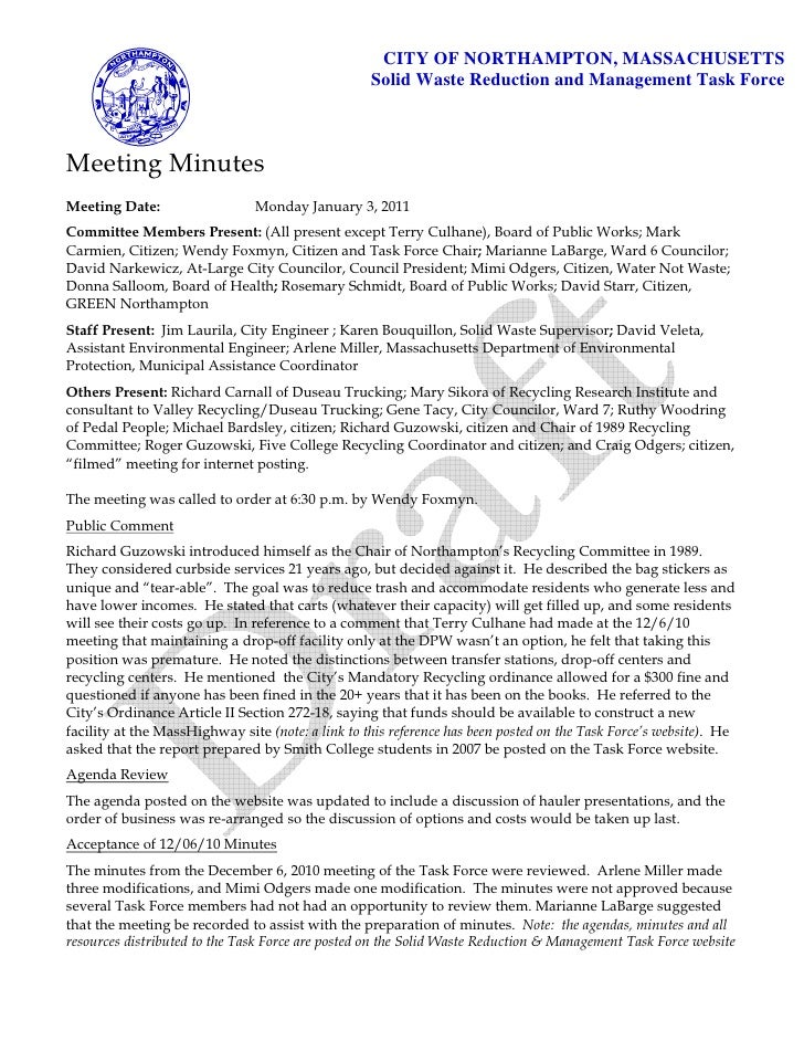 Solid Waste Task Force: Draft Minutes of 1/3/11