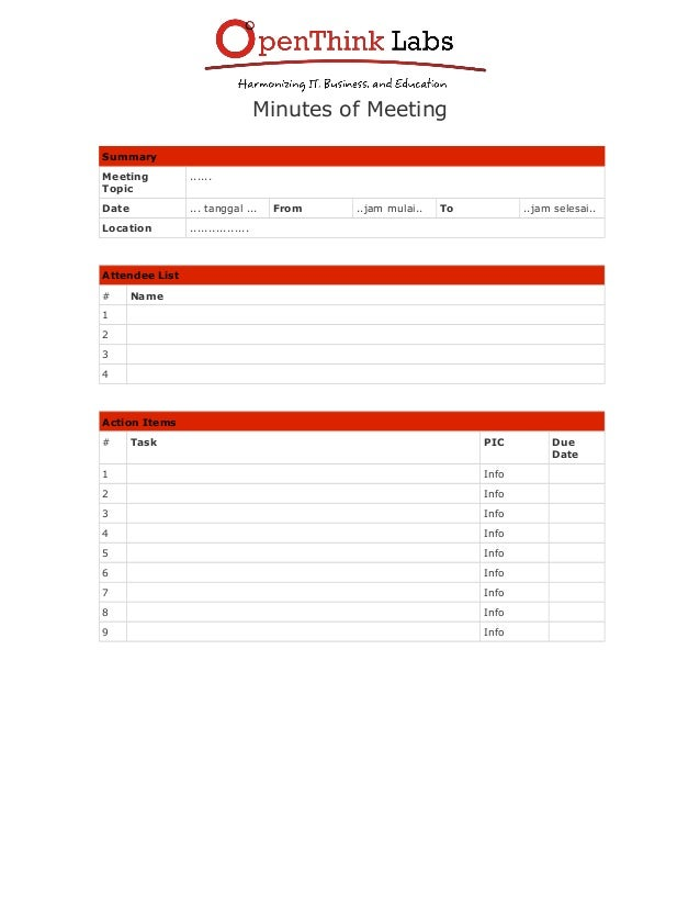 meeting of minutes format