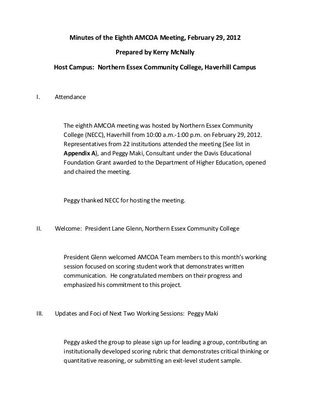 Minutes of the Eighth AMCOA Meeting, February 29, 2012Prepared by Kerry McNallyHost Campus: Northern Essex Community Colle...