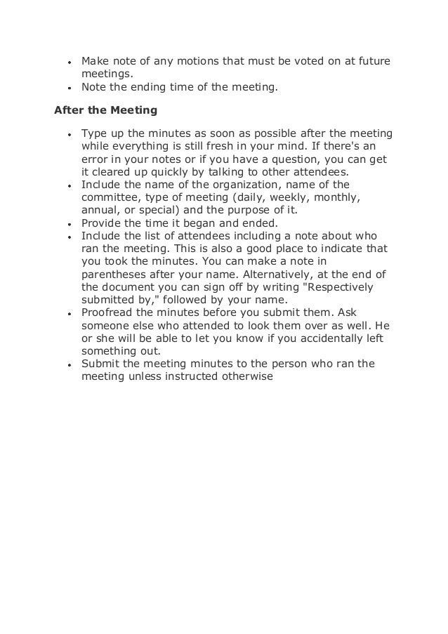 How to write up minutes to a meeting