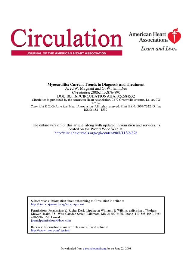 Myocarditis: Current Trends in Diagnosis and Treatment                     Jared W. Magnani and G. William Dec            ...