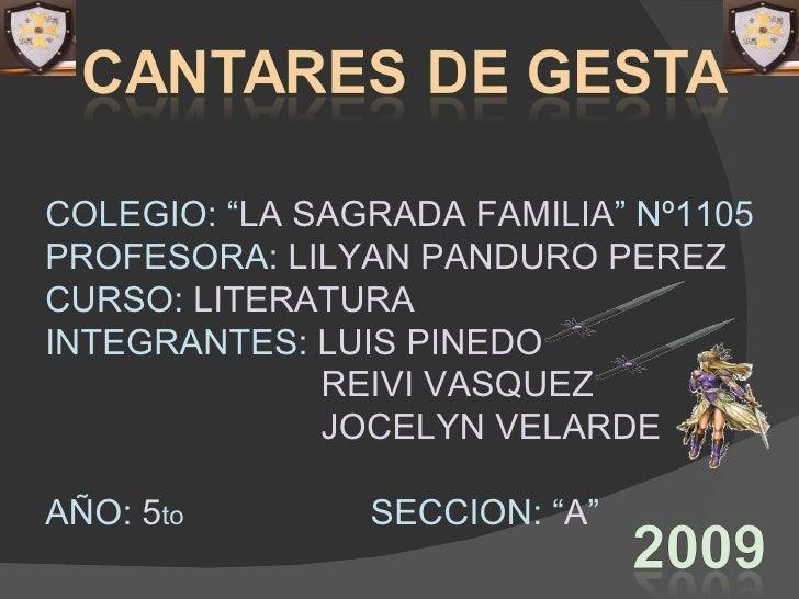 """COLEGIO: """" LA SAGRADA FAMILIA """"   Nº1105 PROFESORA:  LILYAN PANDURO PEREZ CURSO:  LITERATURA INTEGRANTES:  LUIS PINEDO REI..."""