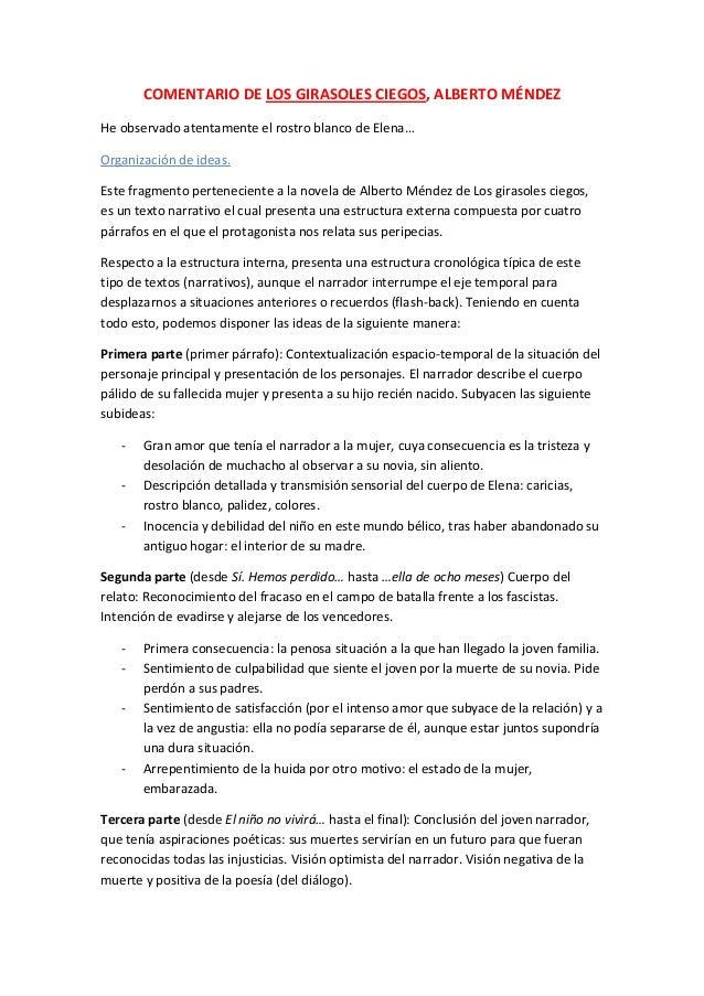 COMENTARIO DE LOS GIRASOLES CIEGOS, ALBERTO MÉNDEZHe observado atentamente el rostro blanco de Elena…Organización de ideas...