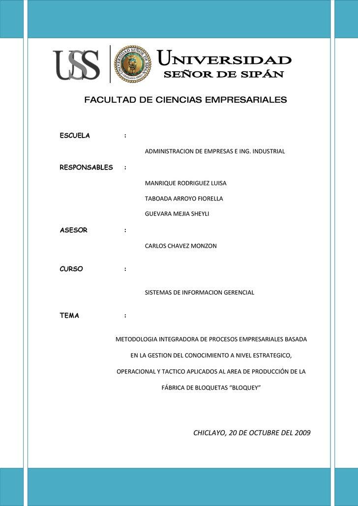 FACULTAD DE CIENCIAS EMPRESARIALES    ESCUELA          :                           ADMINISTRACION DE EMPRESAS E ING. INDUS...