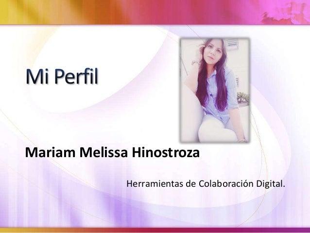 Mariam Melissa Hinostroza  Herramientas de Colaboración Digital.