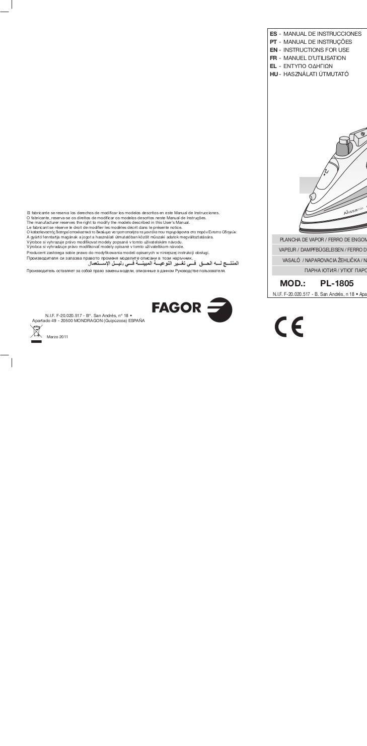 Mi pl 1805 2205-2405 - Servicio Tecnico Fagor