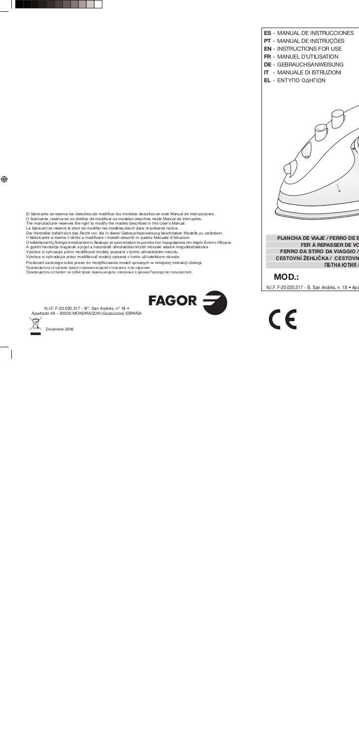 Mi plv 125 - Servicio Tecnico Fagor