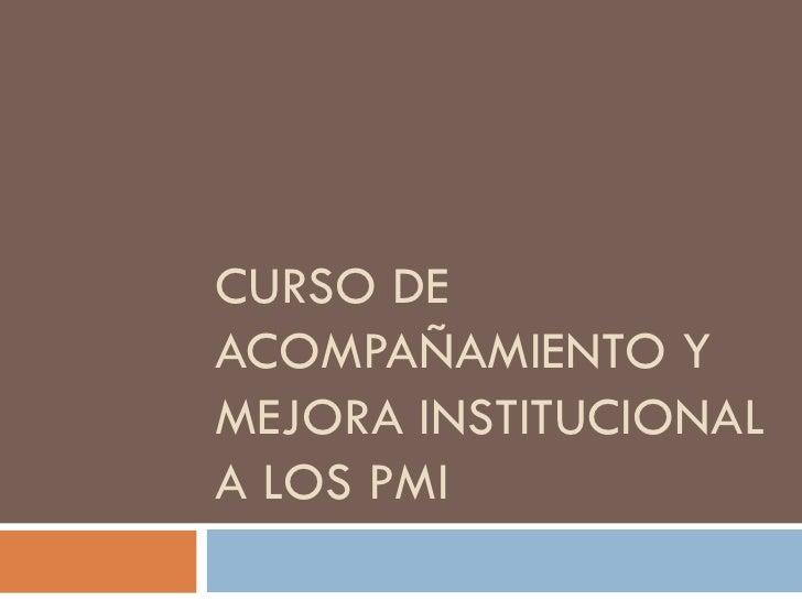 CURSO DE ACOMPAÑAMIENTO Y MEJORA INSTITUCIONAL A LOS PMI