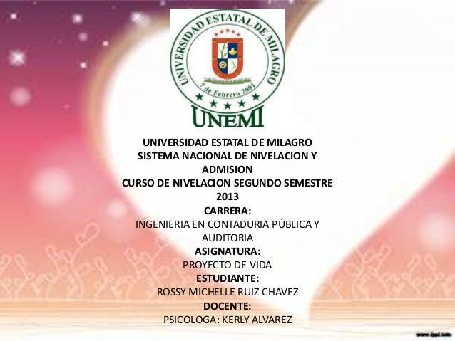 UNIVERSIDAD ESTATAL DE MILAGRO SISTEMA NACIONAL DE NIVELACION Y ADMISION CURSO DE NIVELACION SEGUNDO SEMESTRE 2013 CARRERA...