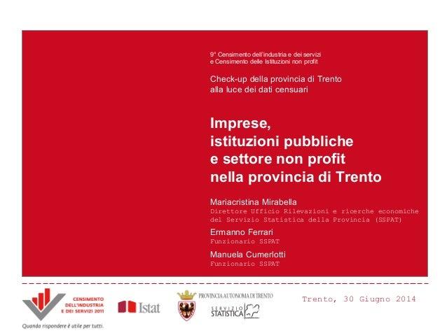 Imprese, istituzioni pubbliche e settore non profit nella provincia di Trento Mariacristina Mirabella Direttore Ufficio Ri...
