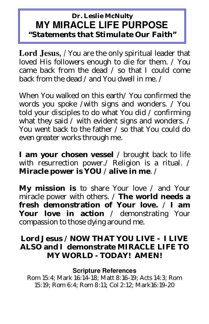 Miracle life purpose declaration