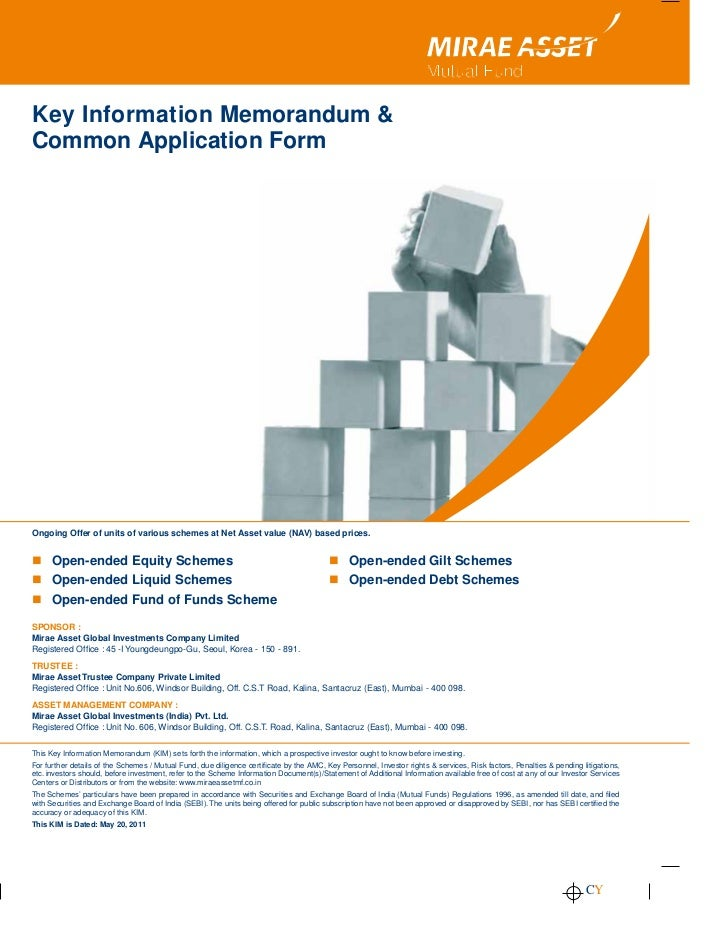 Mirae Asset mutual fund common application form with kim