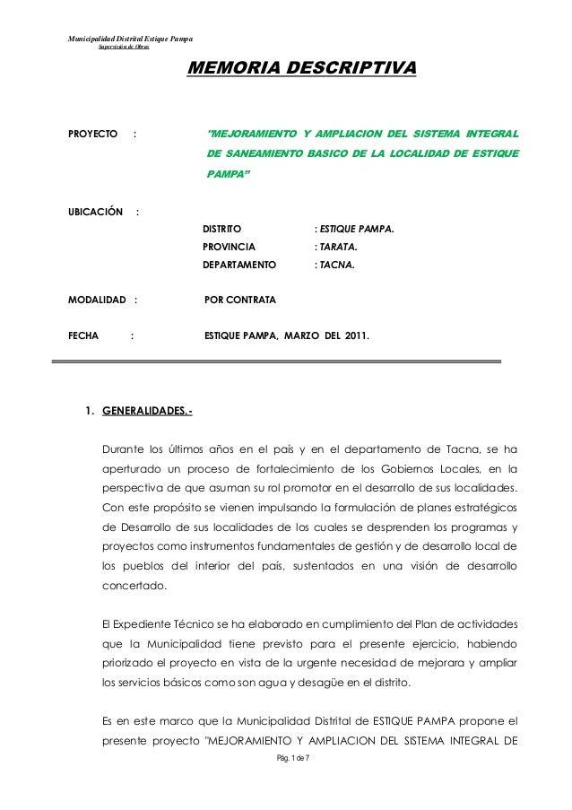 Municipalidad Distrital Estique Pampa         Supervisión de Obras                                   MEMORIA DESCRIPTIVAPR...