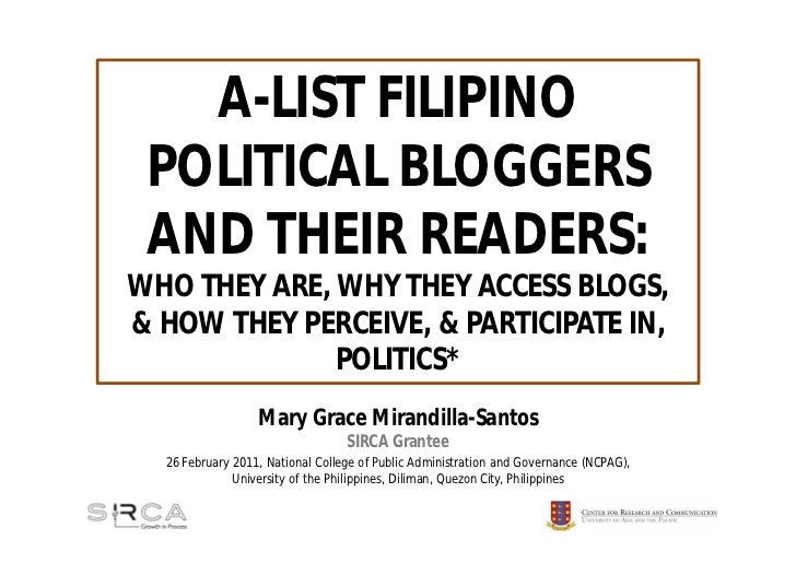 A-LIST FILIPINO POLITICAL BLOGGERS AND THEIR READERS:WHO THEY ARE, WHY THEY ACCESS BLOGS,& HOW THEY PERCEIVE, & PARTICIPAT...