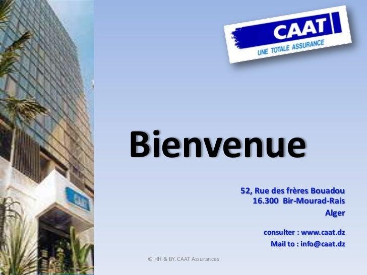 © HH & BY. CAAT Assurances <br />Bienvenue<br />52, Rue des frères Bouadou16.300  Bir-Mourad-Rais<br />Alger<br />consulte...