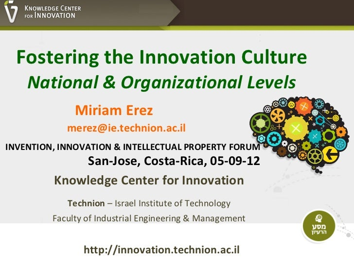 Fostering the Innovation Culture    National & Organizational Levels              Miriam Erez            merez@ie.technion...
