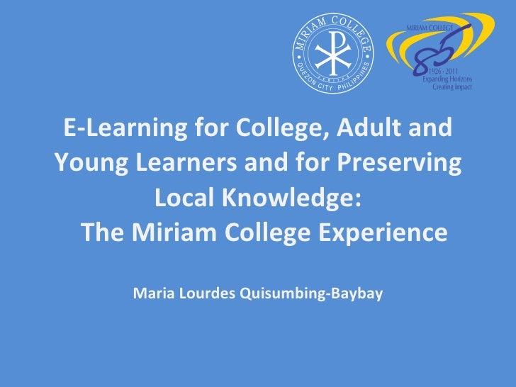 E-learning in Miriam College