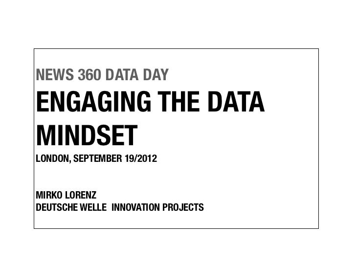 NEWS 360 DATA DAYENGAGING THE DATAMINDSETLONDON, SEPTEMBER 19/2012MIRKO LORENZDEUTSCHE WELLE INNOVATION PROJECTS