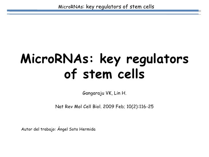 MicroRNAs: key regulators of stem cells Gangaraju VK, Lin H. Nat Rev Mol Cell Biol. 2009 Feb; 10(2):116-25 Autor del traba...
