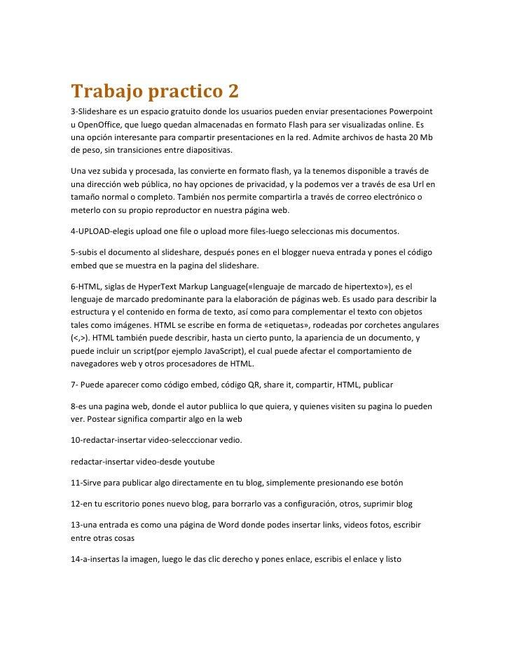 Trabajo practico 23-Slideshare es un espacio gratuito donde los usuarios pueden enviar presentaciones Powerpointu OpenOffi...