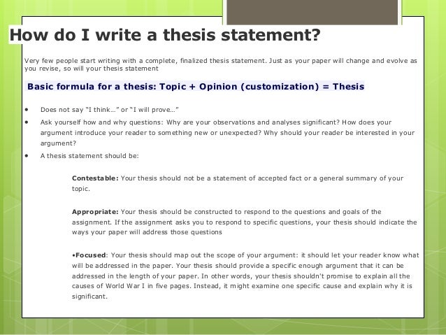 which of the following describe a working thesis statement