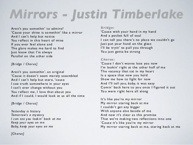 Justin timberlake mirrors lyrics for Mirror mirror lyrics