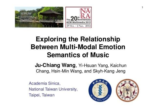 1 Exploring the Relationship Between Multi-Modal Emotion Semantics of Music Ju-Chiang Wang, Yi-Hsuan Yang, Kaichun Chang, ...