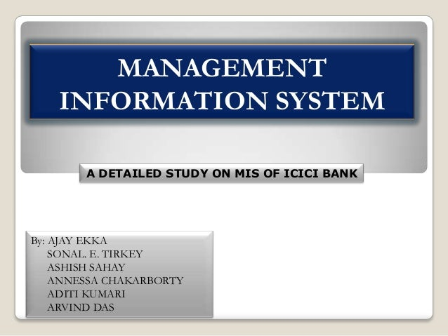 ICICI BANK LTD MANAGEMENT INFORMATION SYSTEM