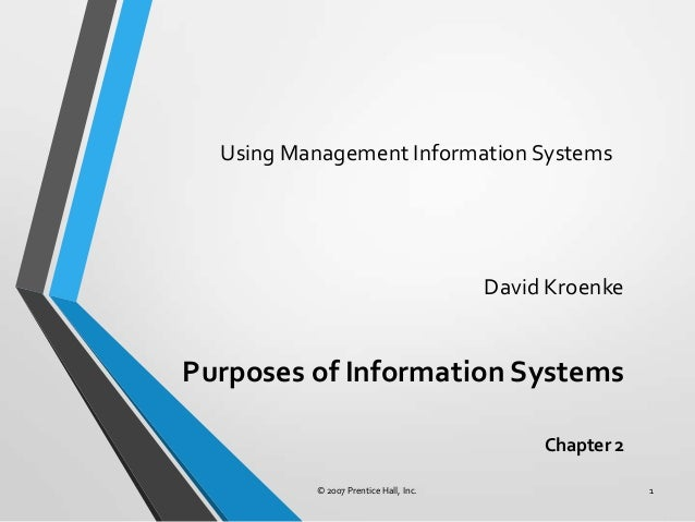 Using Management Information Systems David Kroenke Purposes of Information Systems Chapter 2 © 2007 Prentice Hall, Inc. 1
