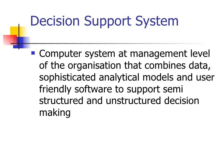 decision support system case study with solution System a computer-based design decision support environment should include   measure and evaluate the performance of proposed design solutions across   cases other related studies are concerned with the development of design.