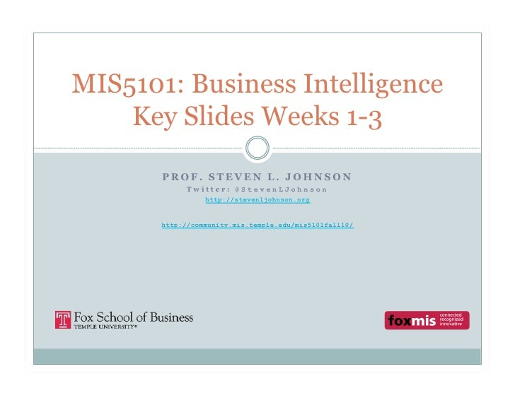 MIS5101 Key Slides from Weeks 1-3