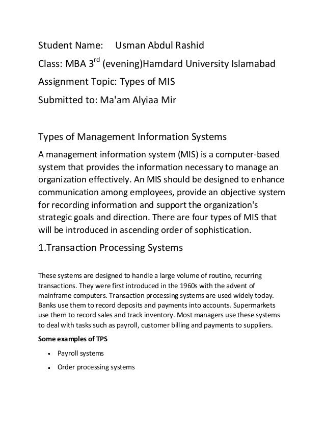 Mis assignment types of management information systems